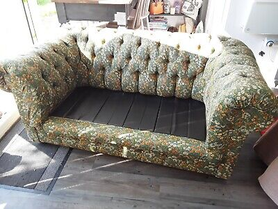 Orginal Chesterfield two seater sofa, button back,green, floral