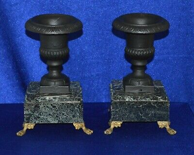 Antique Cast Iron Urns Clock Garnitures on Variegated Green Marble Bases