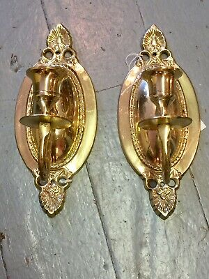 """EUC Vintage Pair Solid Brass Wall Candle Holders Sconces Oval Single Candle 8.5"""""""