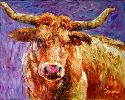 "VV472 Modern Hand-Painted abstract Bull Oil Painting Animal Art No frame 24""x36"""