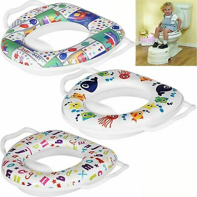 Kids New Printed Soft Padded Cover Toilet Seat Training Toddler with Handles
