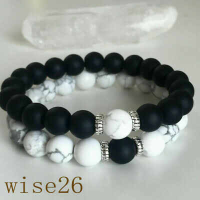 Hot Couples Bracelets Yin Yang Matte Agate White Howlite Beaded Bracelet Gift