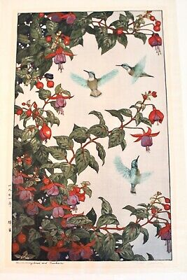 Toshi Yoshida Vtg Mid Century Japanese Woodblock Wood Cut Bird Flower Print