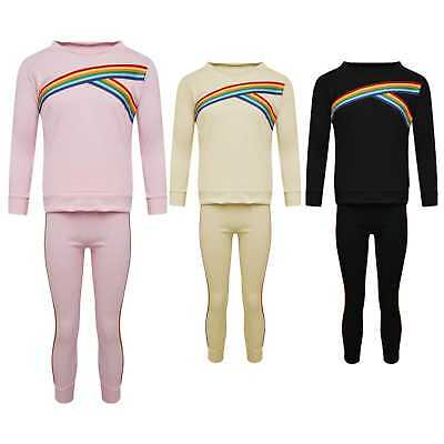 Kids Girls Rainbow Stripe Tracksuit Top & Bottom Loungewear Co Ord Lounge Set