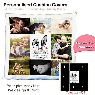 Personalised Photo Collage Pillowcase Cushion Cover Fathers Day Unique Gift Tmp❤
