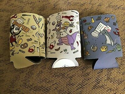 Disney Parks Epcot Food Wine Festival Figment, Remy & Mickey Can Bottle Koozie