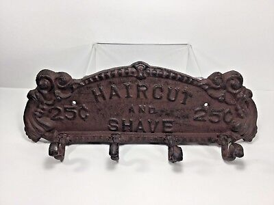"13"" Haircut and Shave Cast Iron Wall 4-Hook Coat / Clothes / Towel / Etc. Rack"