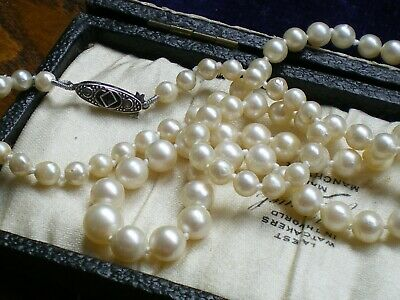 Superb Antique Art Deco*Akoya Salt Water Pearl Necklace*Silver French Clasp