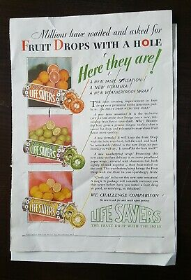 1929 Color Life Savers Ad. Fruit Drops With A Hole