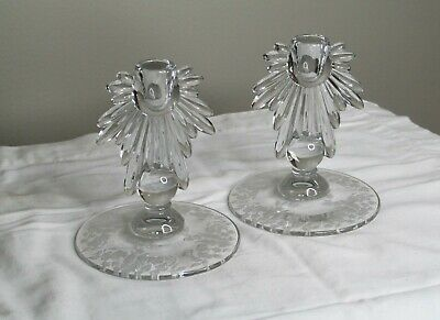 Vintage Etched Glass Candle Stick Holders - Floral