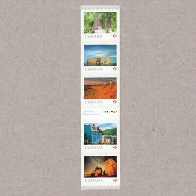 GUTTER-2 strip of 5 coil stamps = FROM FAR AND WIDE = Canada 2018 #3066ii MNH VF