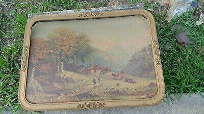Vintage Antique Framed Painting Farm House COWS IN PASTURE 30x22