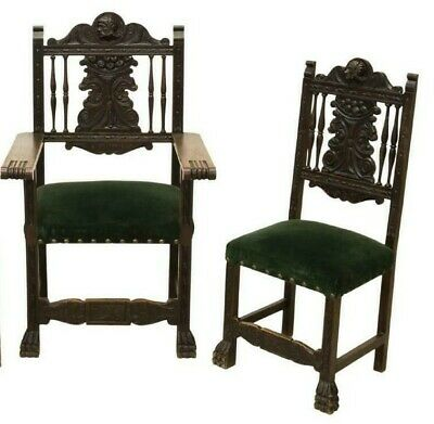 Spanish Renaissance Revival Armchair And Side Chairs