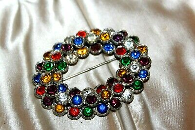 Antique Art Deco Multi Color Czech Glass Faceted Two Tier Pot Metal Brooch