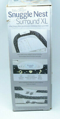Baby Delight Snuggle Nest Harmony Infant Sleeper Bed w Incline Wedge Navy Dots