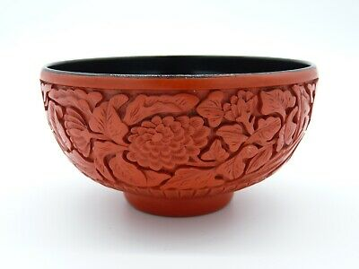 Chinese 20th Century Carved Cinnabar Lacquer Bowl