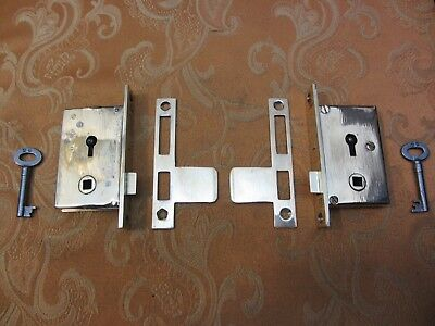 2 Old Vintage Antique 2 lever brass wardrobe locks with keys Left and Right hand