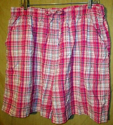 fe279a8c670181 Erika Womens Pull On Elastic Waist Shorts Pink Blue Plaid Cotton Pockets  Size XL