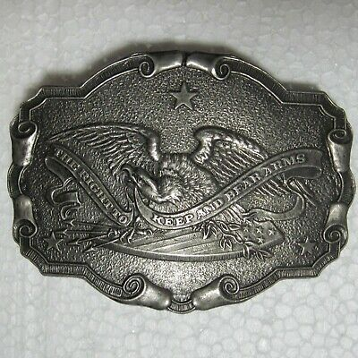 Right to Keep and Bear Arms Vintage 1975 Solid Brass Belt Buckle 2nd Amendment