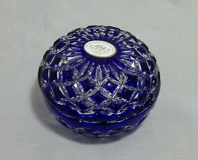 AJKA Crystal Made in Hungary Blue and Clear Round Covered Box