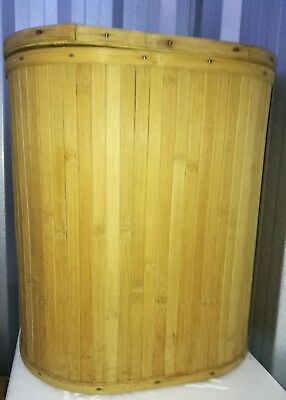 Bamboo Cane  Laundry hamper with lid oval shaped H--17.5 W-15.5 D-11.5 in