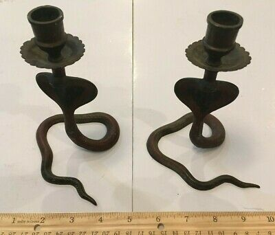 """Vintage Etched Brass Bronze Cobra Pair Candle Holders 6"""""""