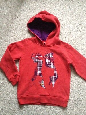 Girls Red Hoodie Christmas Jumper -Esprit Bow Detail 6-7 Yrs ⭐️VGC⭐️