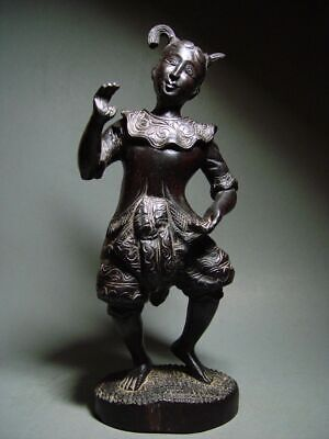 ANTIQUE INDONESIA WOOD-CARVED BALINESE TEMPLE DANCE FIGURE. CIRCA: LATE 19th C.