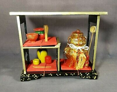 Vintage Japanese Miniature Dollhouse Wood Chadougu Tea Ceremony Hina Doll /002