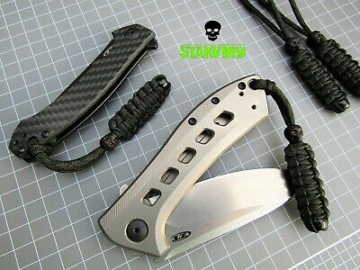 Two Paracord knife lanyards- Black skull -fits Zero Tolerance, spyderco & Kizer