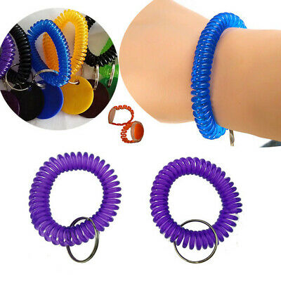10Pcs Stretch Coil Spiral Bracelet Key Chain Key Ring Retractable Accessories