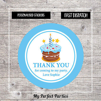 Personalised Cake Birthday Stickers For Party Thank You Sweet Cone Bags x24