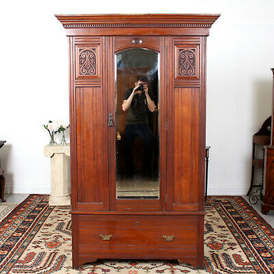 Antique Victorian Wardrobe Mirrored Carved Walnut 19th Century