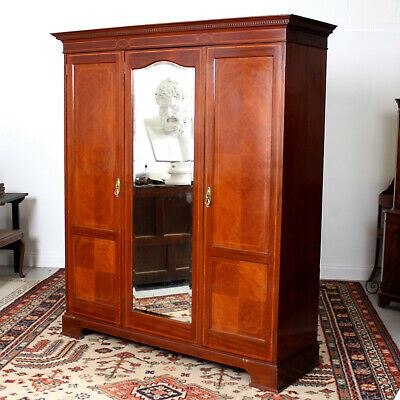 Antique Victorian Compactum Wardrobe Triple Mirrored Mahogany 19th Century