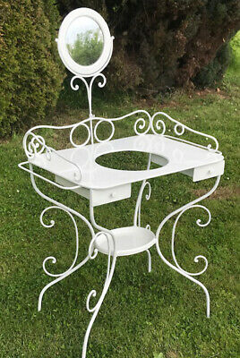 Wonderful Old French Wrought Iron Painted Wash Stand / Vanity Unit