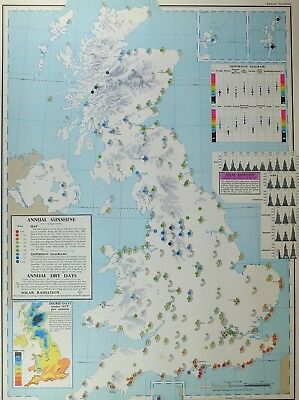 VINTAGE LARGE MAP of BRITAIN ANNUAL SUNSHINE DRY DAYS SOLAR RADIATION DISPERSION