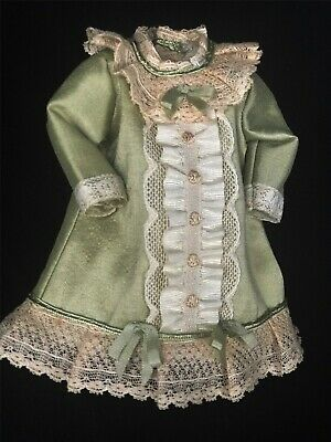 """CC Hand Sewn Silk Doll Dress for 7"""" Antique Doll, Lined, Handmade Miniature Doll"""