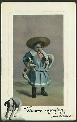 Puppies. Dogs. Little Girl With Puppy Under Each Arm. Vintage Glossy Postcard