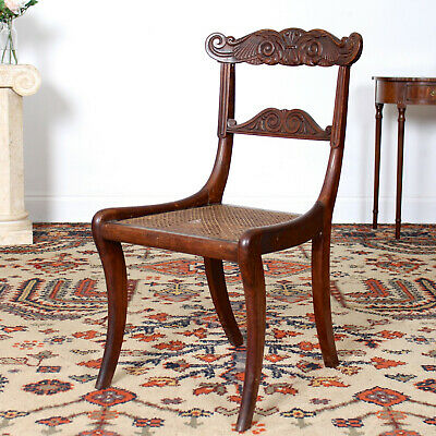 Antique Regency Chair Cane Seat Occasional Side Chair Early 19th Century