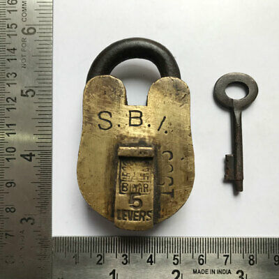 (10). An Old antique solid brass padlock or lock with key small sized.