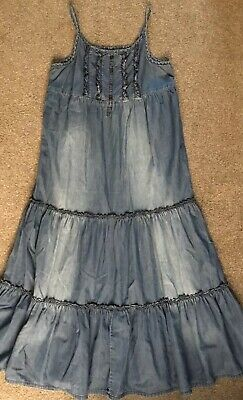 NEXT Age 9 Years Light Denim Tiered Maxi Dress (Height 134cm)❤️PERFECT CONDITION