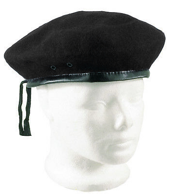 495df1d1 Wool Beret Black Classic Army Style Adjustable Size Military Artist Hat Cap