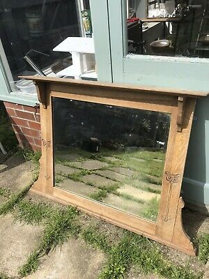 Antique Edwardian Arts and Crafts Carved Oak Mirror