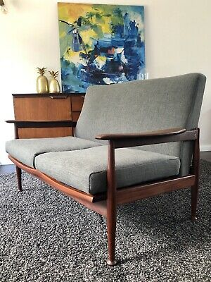 1960s, Guy Rogers Afromosia Manhattan Two-Seat Sofa, Mid Century