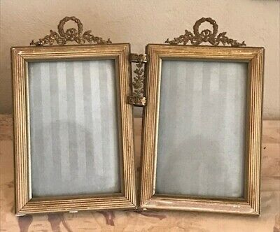 Delightful Pair French Antique Louis Xvi Picture Frames - Central Posy Holder