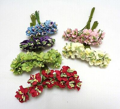 Job Lot 6 bunches mini fabric flowers with wire stems craft beaded flowers