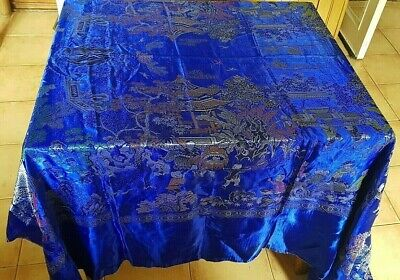 Heavy Vintage Blue Satin Brocade Chinese Oriental Tablecloth Wall Hanging Shawl