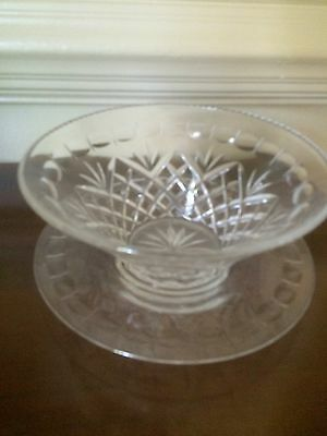 Swedish Orrefors  Cut Crystal Bowl And Plate Beautiful Full Crystal Design 1900'