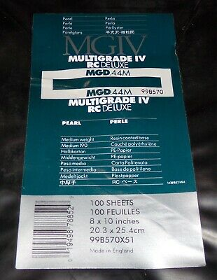 "Ilford MGIV Multigrade IV RC Deluxe Pearl 8""x10"" Full Package 100 Sheets"