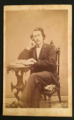 Vintage CDV Photo Man in Antique Chair Holding book From Whitby England #3790